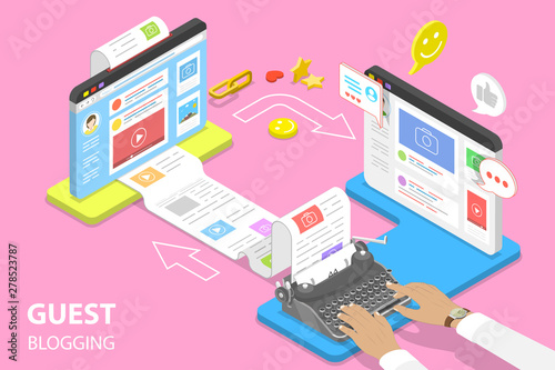Fotografiet Isometric flat vector concept of guest blogging, commercial blog posting and copywriting, content marketing strategy