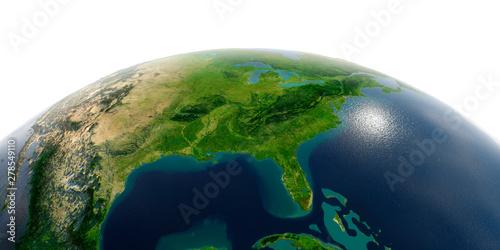 Slika na platnu Detailed Earth on white background.. Gulf of Mexico and Florida