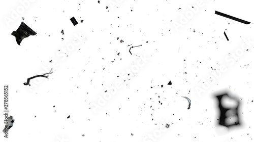 Fotografie, Obraz space debris in Earth orbit, dangerous trash isolated on white background