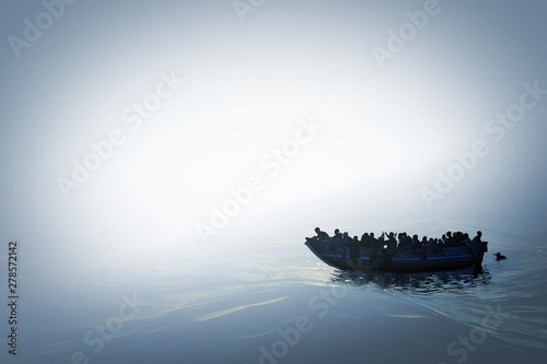 Fotografia Illustration of a refugee boat on the sea in bright misty color and mysterious atmosphere