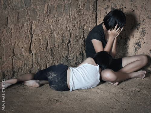 Human trafficking concept, human rights violations, Stop violence and abused children Fototapet