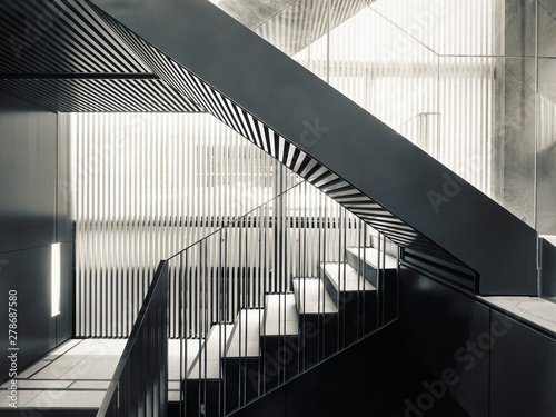 Slika na platnu Stairs step steel staircase Architecture details Modern building