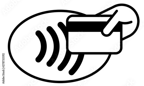 Contactless payment credit card and hand tap vector logo. NFC