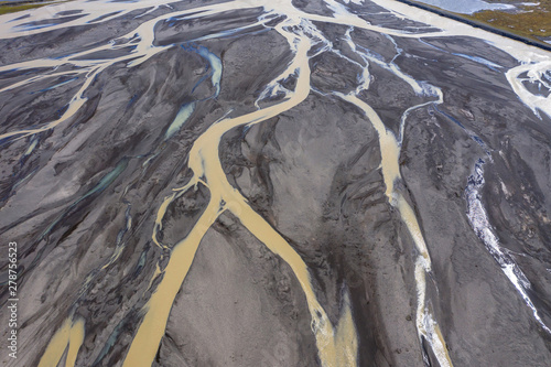 Canvas Print Aerial drone view of glacial river system, Iceland