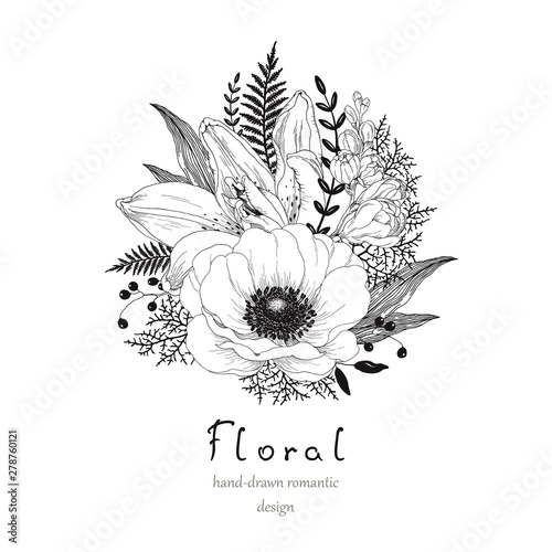 Hand drawn decor with flowers Anemone, Lily and Freesia, leaves and branches Fototapeta