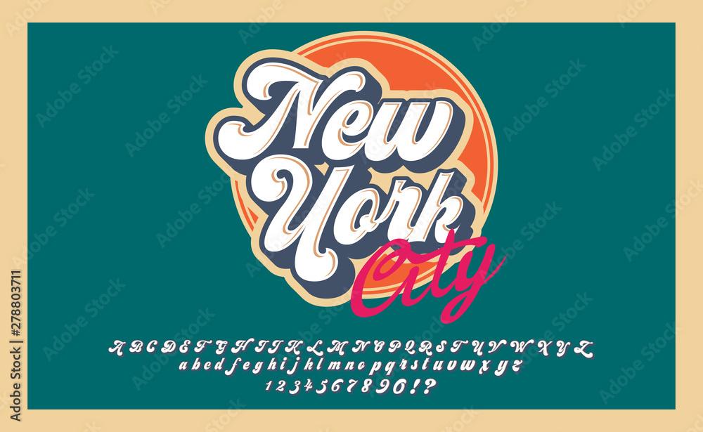 New York City. Retro 3d font in 80s style. Vintage typography. Summer font set. <span>plik: #278803711 | autor: Алексей Руденко</span>