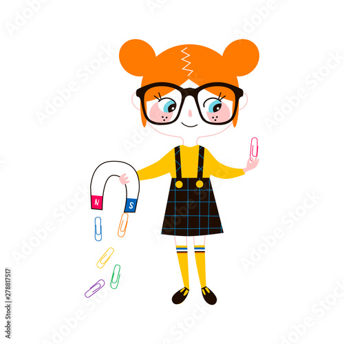 Photo Young physicist flat vector illustration