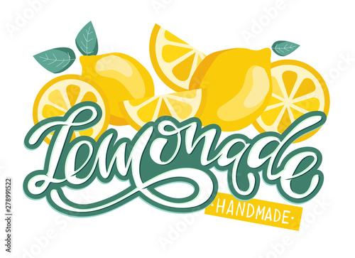Fotografie, Tablou Lemonade hand drawn lettering label poster
