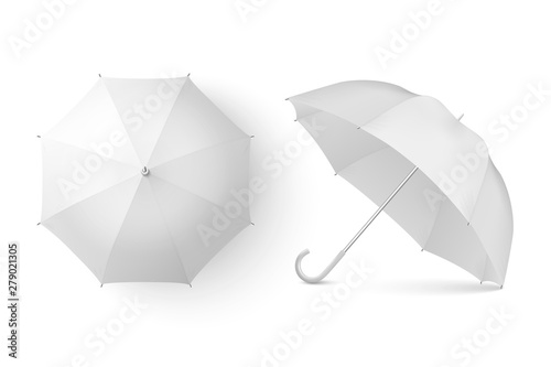 Wall mural Vector 3d Realistic Render White Blank Umbrella Icon Set Closeup Isolated on White Background. Design Template of Opened Parasols for Mock-up, Branding, Advertise etc. Top and Front View