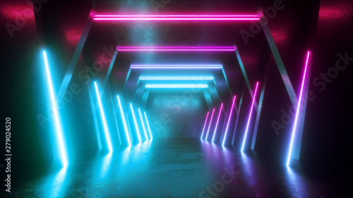 3d render, abstract neon background, empty tunnel, long corridor, glowing lines, geometric, ultraviolet light