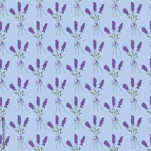 Fototapeta Lavender bouquet on a blue background seamless pattern.