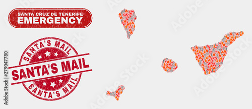 Fotografie, Tablou Vector composition of firestorm Santa Cruz de Tenerife Province map and red rounded textured Santa'S Mail seal