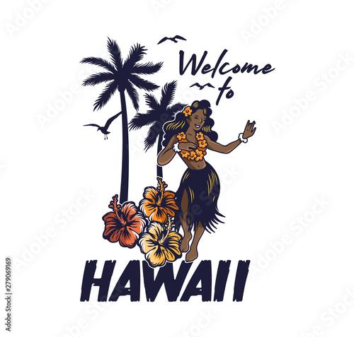 Young cute smile Hawaiian hula girl dancing