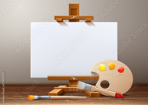 Photo Vector wooden easel canvas paint palette brush