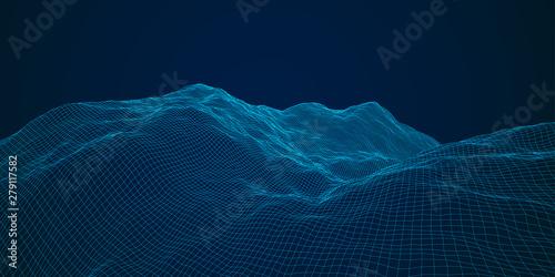 Obraz na płótnie blue polygonal mesh terrain with editable path