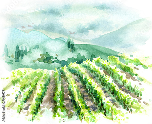 Obraz na płótnie Watercolor Rural Scene with Hills, Vineyard  and Trees