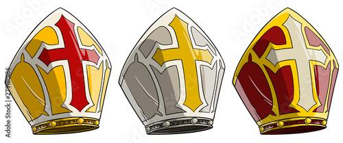 Fotografia, Obraz Cartoon catholic bishop mitre with cross
