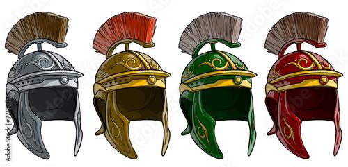 Fotografie, Obraz Cartoon colorful metal ancient roman soldier warrior helmet with crest