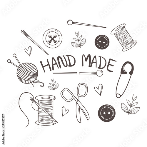 Fotografering hand made sewing set icons