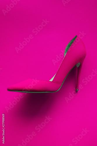 Fotografia, Obraz Photo of trendy fancy modern fashionable women luxury pink high heel shoe on a p