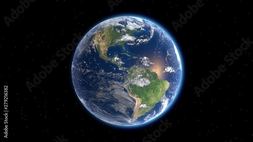 Canvas Print Flying over the earth's surface, 3D rendering.