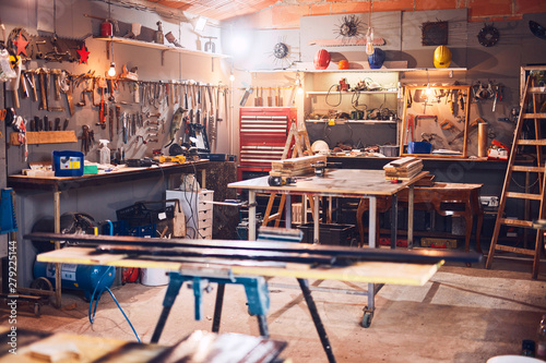 Valokuva Retro / vintage workshop with misc. tools.