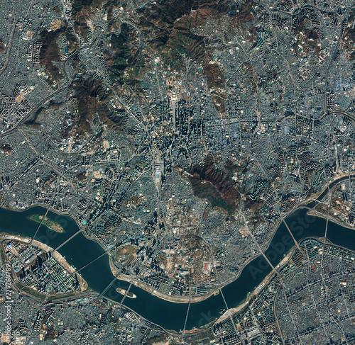 Fotografie, Obraz High resolution Satellite image of Seoul, South Korea (Isolated imagery of South Korea