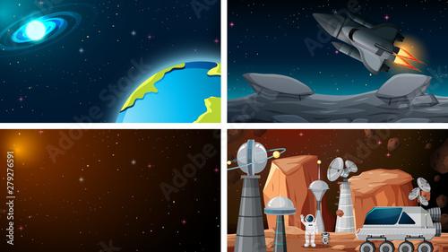 Tableau sur Toile Set of space backgrounds