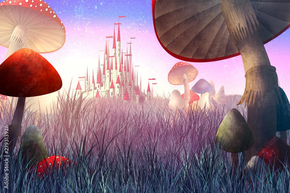 Fototapeta fantastyczny krajobraz z grzybami i mgłą.