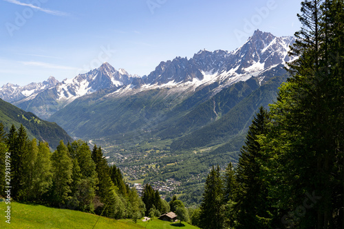 City of Chamonix during summer with moutains in the background