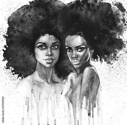 Plakat Modna akwarela - afro portret z bliźniaczką