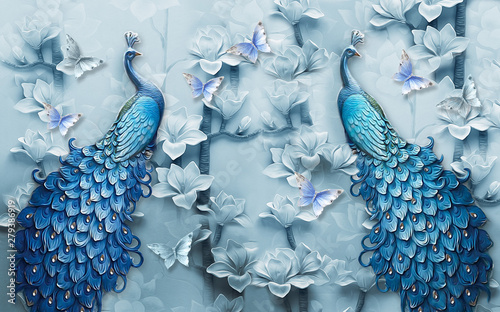 Fotografia 3d mural background blue peacock wallpaper with butterfly