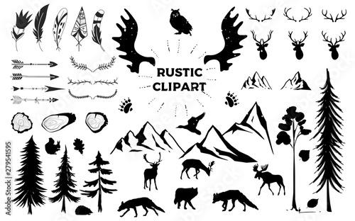 Hand drawn vintage antlers, feathers, arrows Fototapete