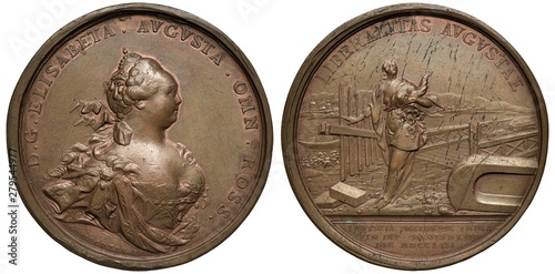 Obraz na płótnie Russia Russian copper medal 1753, subject Cancelling of Domestic Customs Taxes,