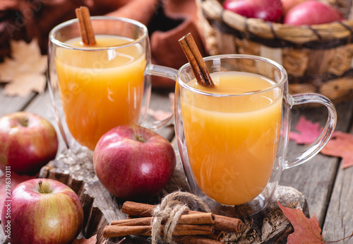Fotografie, Tablou Cup of Apple Cider With Cinnamon Stick
