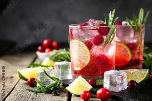 Fotografiet Cold season drink - cranberry and rosemary cocktail, copy space