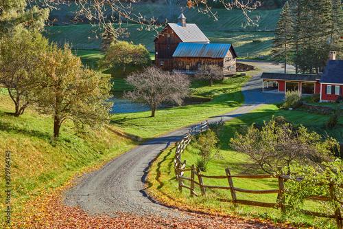 Fototapeta Sleepy Hollow Farm at sunny autumn day in Woodstock, Vermont, USA
