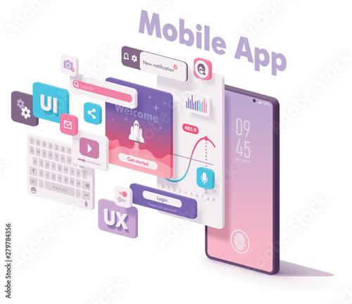 Fotografia Vector mobile app creation illustration