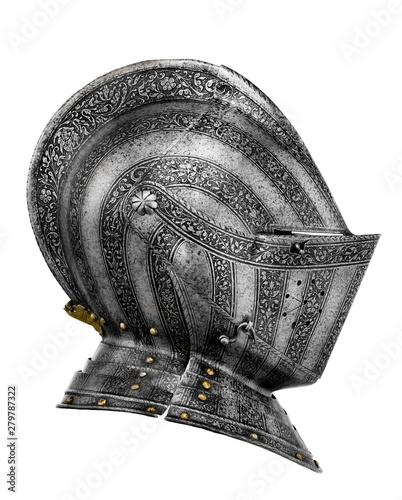 Tela old ancient medieval helmet isolated on white