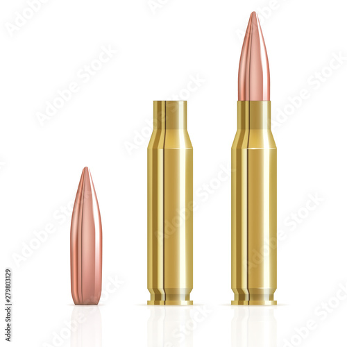 Canvas Print Realistic ammunition cartridge vector illustration