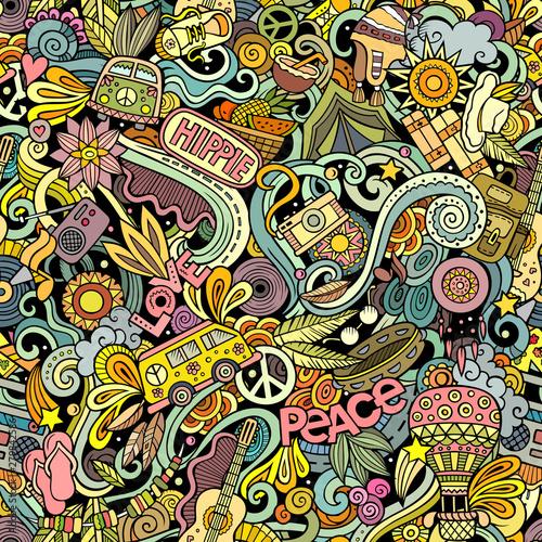 Wallpaper Mural Hippie hand drawn doodles seamless pattern. Hippy background.