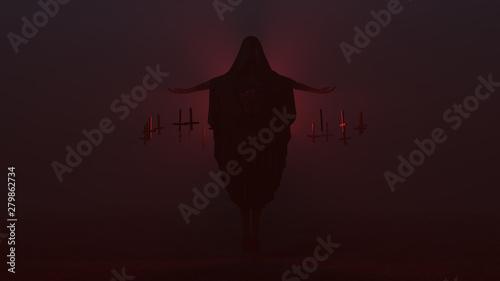 Valokuva Floating Cyclops Demon with Black Poncho Futuristic Seductive Vampire Devil Futu