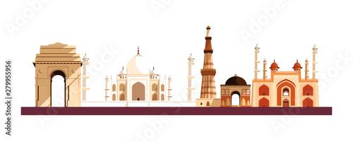 Obraz na plátně india independence day flat design
