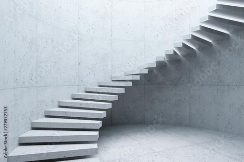 Stampa su Tela modern staircase in concrete interior, 3d rendering