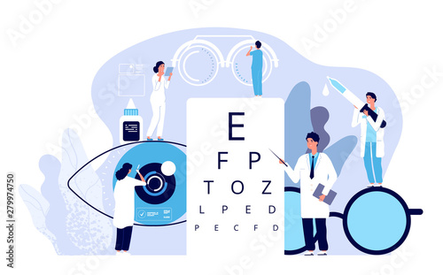 Ophthalmology concept. Ophthalmologist checks patient sight. Optical eyes test, spectacles technology. Vector good vision background. Ophthalmology medicine, optical eyesight examination illustration