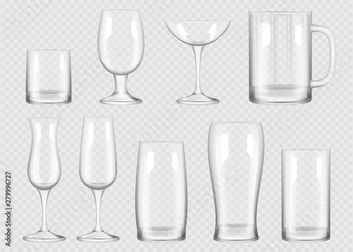 Wall mural Transparent drink glass. Cup for alcoholic drinks crystal empty glass vector realistic collection. Empty realistic glass transparent for bar and drink illustration