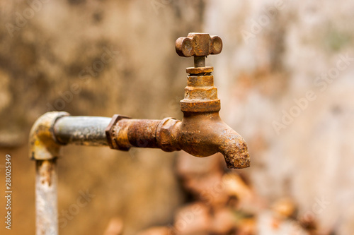 Photo image of a empty and dry water tap because of huge water crisis in India and Wor