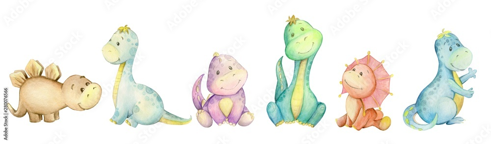 watercolo,  little dinosaur. isolated set