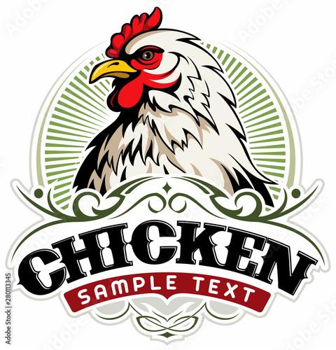 Tableau sur Toile White chicken head, chicken farm vector logo concept.