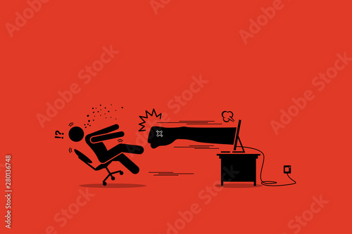 Fotografie, Obraz Stick figure man being punched by an angry hater fist flying out from the computer monitor screen